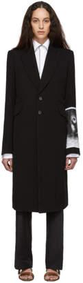 Ann Demeulemeester Black Sleeve Print Coat