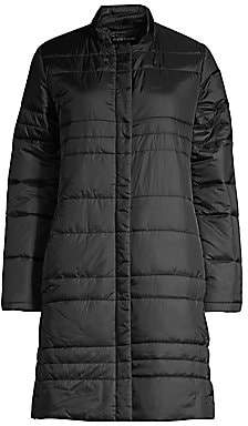 Eileen Fisher Women's Channeled Recycled Nylon Quilted Car Coat