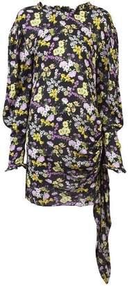 Magda Butrym Ruched Wrap Floral Mini Dress