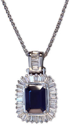 Effy Gemma by Sapphire (1-1/2 ct. t.w.) and Diamond (1/2 ct. t.w.) Emerald-Cut Pendant in 14k White Gold, Created for Macy's