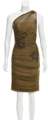 Carmen Marc Valvo Embellished Silk Dress