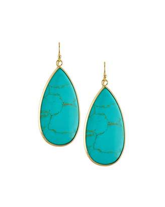 Panacea Dyed Howlite Teardrop Earrings, Turquoise