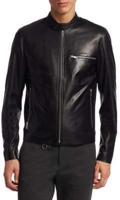 Theory Tab Collar Leather Moto Jacket