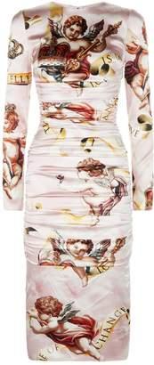 Dolce & Gabbana Cherub Print Satin Midi Dress
