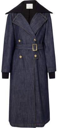 Tibi Stretch Merino Wool-trimmed Denim Trench Coat - Dark denim