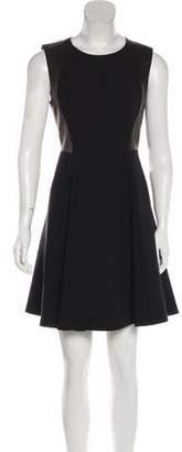 Rebecca Taylor Leather-Paneled A-Line Dress