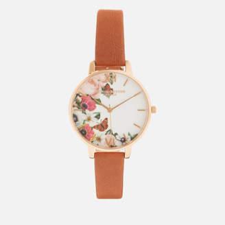 Olivia Burton Women's English Garden Big Dial Watch - Tan/Rose Gold