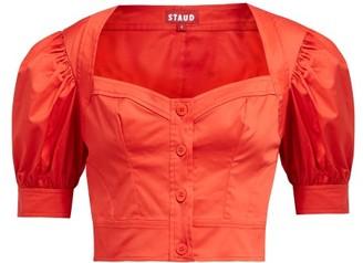 STAUD Rene Puff Sleeve Stretch Cotton Twill Top - Womens - Red