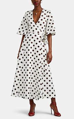 Rebecca De Ravenel Women's Polka Dot Cotton-Silk Wrap Dress - White