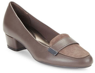 Easy Spirit Ulana Black Leather and Suede Loafers $79 thestylecure.com