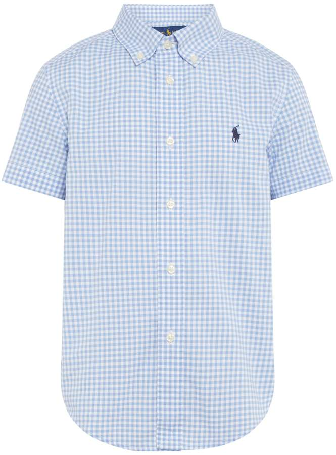 Boys Gingham Shorrt Sleeve Shirt