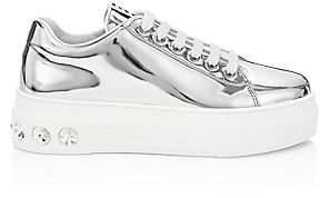 Miu Miu Women's Crystal Skate Metallic Platform Sneakers