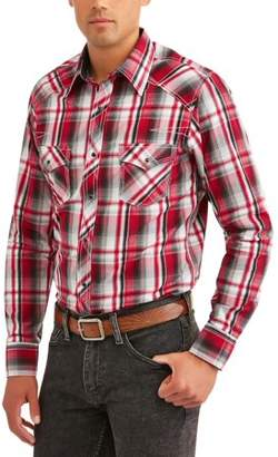 Plains Big Big Mens Long Sleeve Textured Plaids With Contrast Stitch