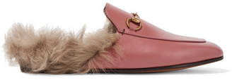 Gucci Princetown Horsebit-detailed Shearling-lined Leather Slippers - Pink
