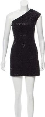 Halston One-Shoulder Sequined Dress
