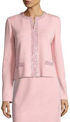 St. John Glitz Santana Knit Jacket, Pink $1,159 thestylecure.com