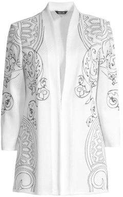 Misook Women's Embroidery Accent Jacket - White Indigo - Size XS