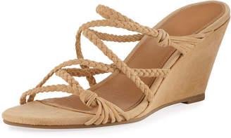 Sigerson Morrison Maddie Braided Suede Wedge Sandals