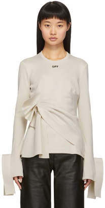 Off-White Off White Beige Wrap Long Sleeve T-Shirt