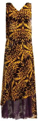 Aries Leopard Print Velvet Midi Dress - Womens - Black Multi