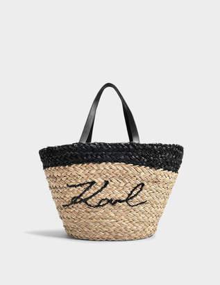Karl Lagerfeld K/Ikonik Straw Shopper Bag in Natural Paper Straw