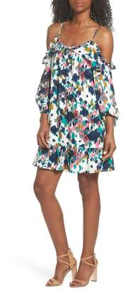 Sloane CLOVER AND Clove and Fly Away Ruffle Cold Shoulder Dress