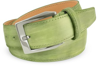 Pakerson Men's Pistachio Green Hand Painted Italian Leather Belt