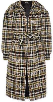 Miu Miu Checked Wool-blend Bouclé Coat - Brown