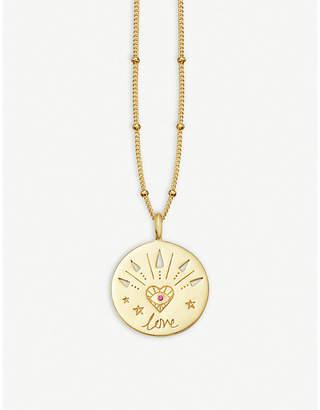 Missoma Ltd Mantra Love 18ct gold vermeil and pink zircon necklace