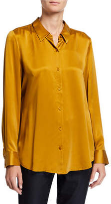 Eileen Fisher Plus Size Sandwash Silk Button-Front Long-Sleeve Shirt