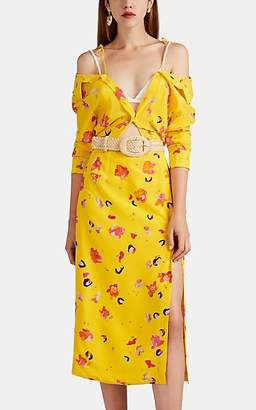 Altuzarra Women's Adele Floral-Print Silk Off-The-Shoulder Shirtdress - Pollen