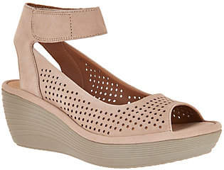 Clarks As Is Clarks Nubuck Leather Perforated Wedges - Reedly Salene