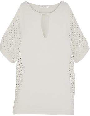 Autumn Cashmere Cold-Shoulder Perforated Stretch-Knit Top