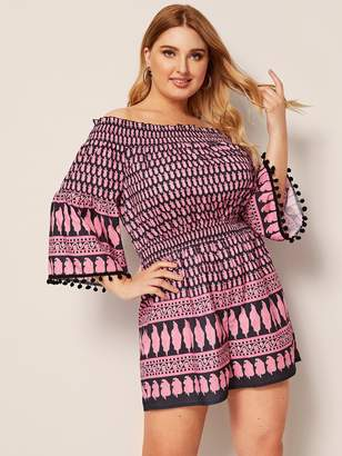 Shein Plus Off The Shoulder Pompom Trim Tribal Print Romper