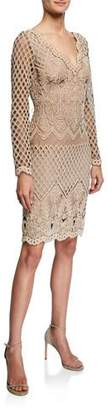Tadashi Shoji Art Deco Corded Lace Long-Sleeve Dress