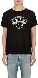 The Elder Statesman X NBA X NBA MEN'S NEW YORK KNICKS LOGO CASHMERE-SILK T-SHIRT-BLACK SIZE XL
