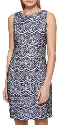GUESS Scalloped Lace Sheath Dress