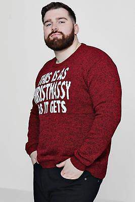 boohoo NEW Mens Big And Tall Christmas Red Marl Slogan Jumper in Acrylic