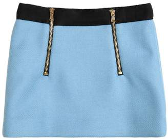 Milly Minis Double Face Wool Blend Mini Skirt W/Zips