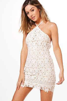 boohoo Petite Halterneck Corded Lace Bodycon Dress