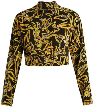 Diane von Furstenberg High-neck silk crepe de Chine cropped top