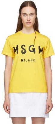 MSGM SSENSE Exclusive Yellow Paint Brushed Logo T-Shirt