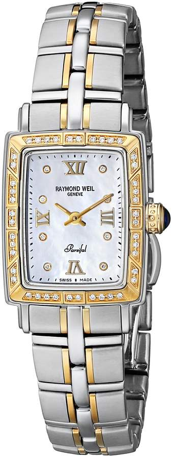 Raymond Weil Women's 9740-STS-00995 Parsifal Diamond Accented 18K Gold-Plated and Stainless Steel Watch