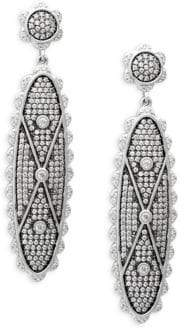 Freida Rothman Sterling Silver & Crystal Signet Long Drop Earrings