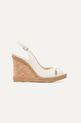 Jimmy Choo Amely 105 Leather Slingback Wedge Sandals - White