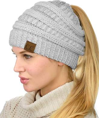 fc338cb5a07 at Amazon Canada · C.C C C BeanieTail Soft Stretch Cable Knit Messy High  Bun Ponytail Beanie Hat