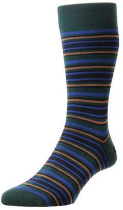 Pantherella Men's Piper Striped Wool Socks