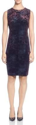 T Tahari Sleeveless Foil Print Velour Dress