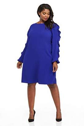 London Times Women's Plus Size Long Sleeve Round Neck Crepe Shift Dress w. Ruffle