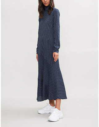 Ganni Lynch striped seersucker silk-blend midi dress